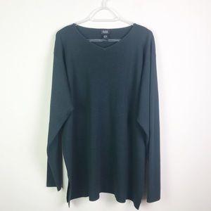 Eileen Fisher V Neck 100% Wool Split Sides Sweater